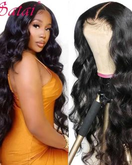 Satai 30 inch Body Wave Lace Front Wig T Part Lace Wig Human Hair Body Wave Wig 180 Density Lace Front Human Hair Wigs for Women