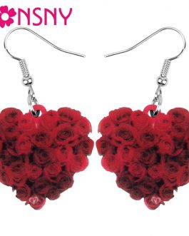 Bonsny Acrylic Valentine's Day Heart Shape Rose Earrings Drop Dangle Jewelry For Women Girl Teen Kid Lover Charm Decoration Gift (Multicolor)