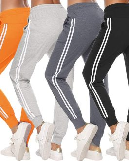 2020 Women Sports Pants Female Casual Striped High Waist Pocket Drawstring Trousers Ladies Fitnees Gym Running Clothing