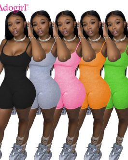 Adogirl Solid Spaghetti Straps Jumpsuit Women Fashion Sexy Summer Sleeveless Shorts Romper Playsuit Sportswear Tracksuit