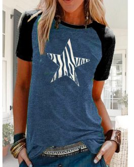Women Casual Slim O-Neck Short Sleeve T-Shirt Top For Woman 2020 Ladies Solid Color Basic T-Shirt Star Print Tee-Shirt Summer