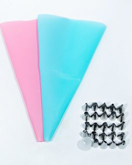 26pcs/8pcs Silicone Pastry Bag Tips Kitchen DIY Icing Cream Reusable Pastry Bags Nozzle Set Stainless Cake Decorating Tools