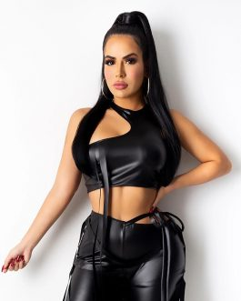 Adogirl Women Ribbon PU Leather Pencil Pants Sleeveless Crop Top Vest Tank Fashion Casual Trousers