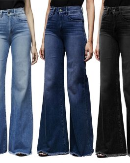 SHUJIN Fashion Brand Elastic Jeans Women Button Washed Denim Pants Femme Pocket Trouser Boot Cut Straight Line Flare Jeans Mujer