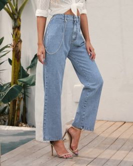 High Waist Loose Comfortable Jeans For Women Plus Size Fashionable Casual Straight Pants Mom Jeans Washed Boyfriend Jeans#g30