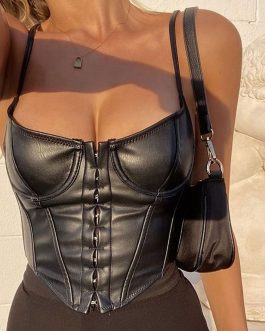 Women Tops Y2k Skinny Leather Crop Top Solid Casual High Street Women Camisole Clubwear Sleeveless Summer Sexy Party Tank Tops
