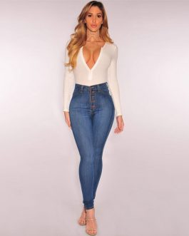 Women Spring Stretch High Waist Casual Straight-breasted Jeans Femme Slim Solid Denim Plus Size Jeans Pants