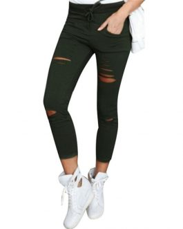 Woman jeans 2018 Women Skinny Ripped Pants High Waist Stretch Slim Pencil Trousers Ladies Pant Summer High Street black Trousers