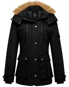 Wantdo Women Warm Puffer Cargo Coats Thick Jacket  With Faux Fur Hood  Windproof Coats abrigos mujer invierno 2020