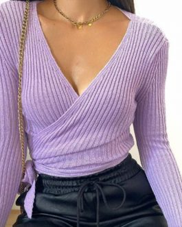 2021 Basic V-neck Solid Autumn Winter Pullover Women Female Knitted Ribbed Sweater Slim Long Sleeve Badycon High Quality Sweater