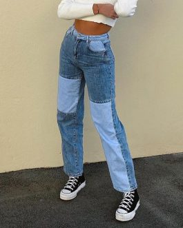 2020 High Waist Loose Comfortable Jeans For Women Plus Size Fashionable Casual Straight Pants Mom Jeans Washed patchwork Jeans#3