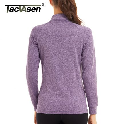 TACVASEN Woman Sportswear Tops Women's Long Sleeve Running Shirt Breathable Warm Sports Gym Outdoor Sweater Pullover T-shirts