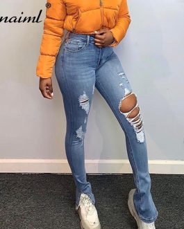 Znaiml Ripped Jeans For Women High Waist Vintage Bottom Split Hem Pant With Holes Patchwork Bell Bottom Jean Chic Denim Trousers