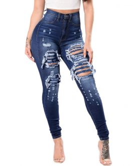 JAYCOSIN Clothes Women Jeans Woman Slim pants Washed Ripped Hole Gradient Long Jeans Denim Sexy Regular Pants 2021