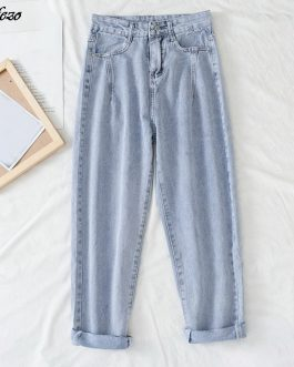Uefezo High Waist Loose Comfortable Jeans For Women Plus Size Fashionable Casual Straight Pants Mom Jeans Washed Boyfriend Jeans