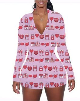Adogirl 2021 Valentine's Day Print Women Sexy Jumpsuit V Neck Long Sleeve Shorts Romper Sleepwear Playsuits Lovers Gift Onesies